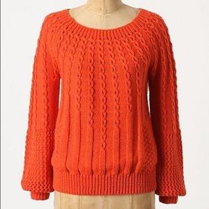 Anthropologie Guinevere Purlwise Wool Blend Sweatr
